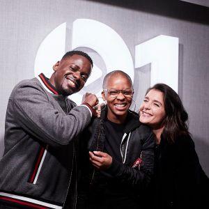 Julie Adenuga with Daniel Kaluuya and Jessie Ware - 16 February 2018