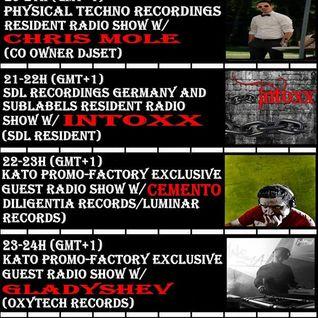 2016 11 08 23-24h Kato PrOmO-Factory Exclusive Guest Radio Show w/Gladyshev (Oxytech Records)