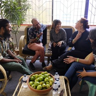 Nikhil Chopra and Jana Prepeluh in conversation with artists from the performance pavilion