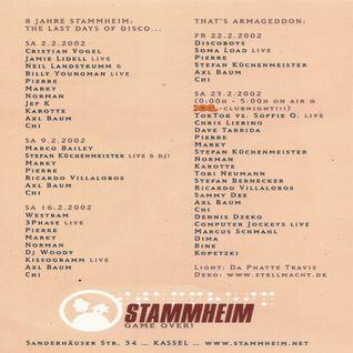 Westbam & Woody @ 8 Jahre Stammheim - Last Days Of Disco - Stammheim Kassel - 16.02.2002