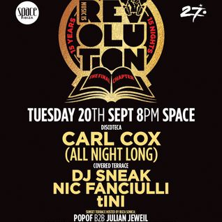 Nic Fanciulli - live at Music is Revolution, The Final Chapter, CLOSING PARTY (Space, Ibiza) - 20-