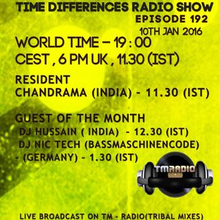 Dj Hussain - Time Difference - 192 ( 10th January 2016) On T-M Radio.