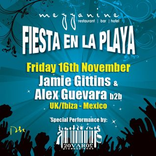 Jamie Gittins & Alex Guevara back to back at Fiesta en la Playa at Mezzanine, Tulum - 16.11.12