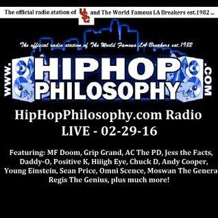 HipHopPhilosophy.com Radio - LIVE - 02-29-16