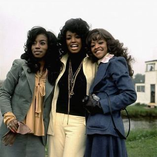 The Three Degrees with David Hamilton BBC Radio 1 Roadshow Mallory Park Leics. UK  May 1975.