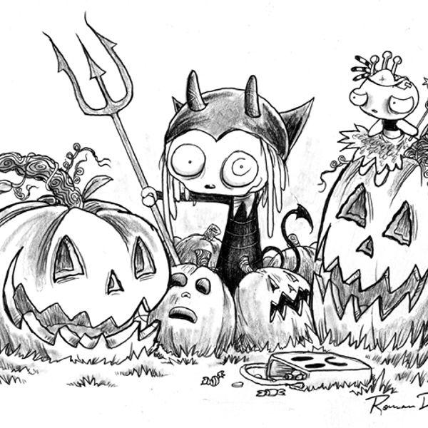 Прикольная, прикольные рисунки черной ручкой или карандашом на хэллоуин