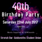 Kasmine & Lawrence 40th Birthday Party Saturday 22 July 2017 Goldsmiths Student Union